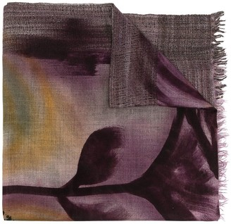 Faliero Sarti Silk-Cashmere Blend Abstract Print Scarf