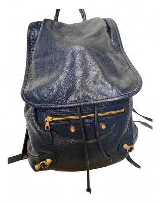Balenciaga City Navy Leather Backpacks