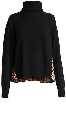 Sacai Leopard-Print Pleated Knit Turtleneck