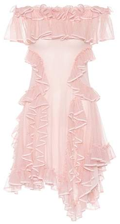 Alexander McQueen Ruffled silk lace dress