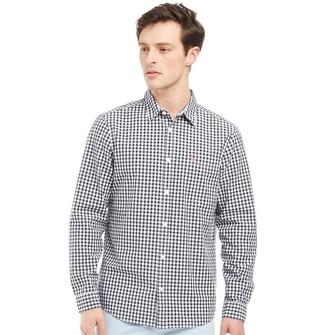 Jack Wills Mens Ruxton Classic Poplin Gingham Long Sleeve Shirt Navy