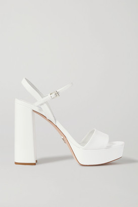 Prada 130 Patent-leather Platform Sandals - White