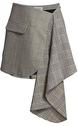 Monse Plaid Cascade Suiting Mini Skirt