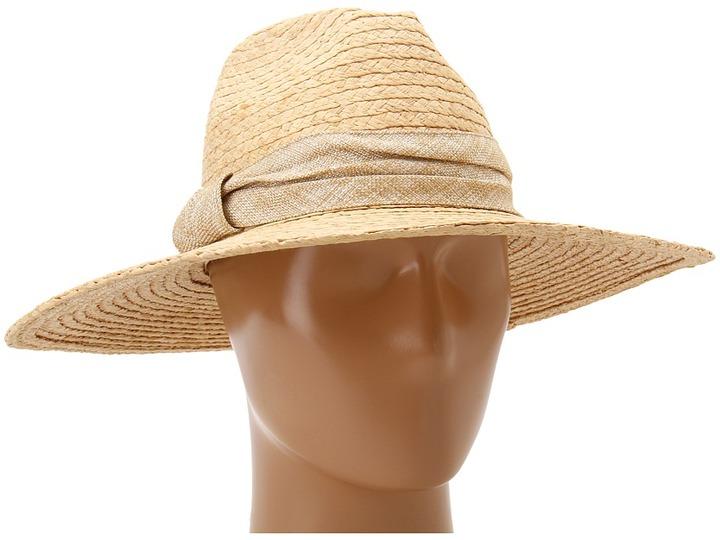 Hat Attack Raffia Braid Continental (Natural/Gold Linen) - Hats