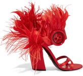Prada Feather-trimmed Satin Sandals