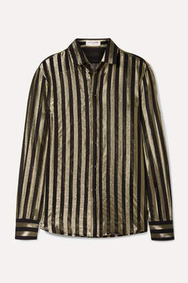 Saint Laurent Striped Metallic Silk-blend Chiffon Shirt - Black