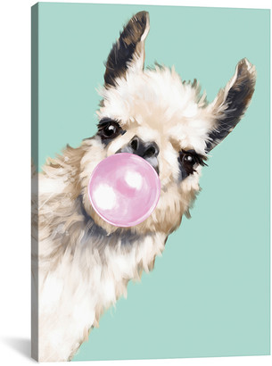 iCanvas Sneaky Llama Blowing Bubble Gum In Green Canvas Wall Art