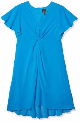 Adrianna Papell Women's Plus Size Twist Front Gauzy Crepe Dress