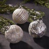 Crate & Barrel Antiqued Glass Glitter Ball Ornaments