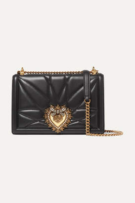 Dolce & Gabbana Devotion Embellished Quilted Leather Shoulder Bag - Black