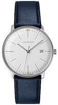 Junghans 041/4464.00 Max Bill Stainless Steel Leather Strap Watch, Dark Blue/white