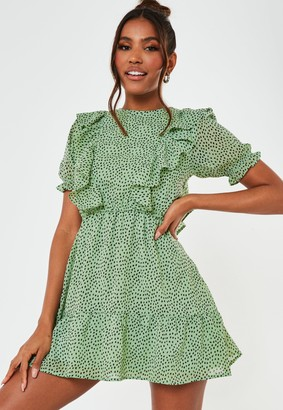Missguided Mint Ruffle Polka Dot Print Smock Dress