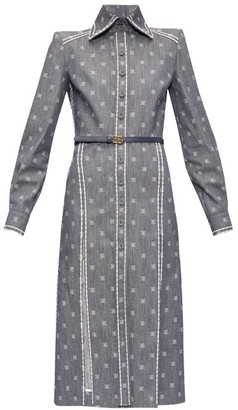 Fendi Karligraphy Ff-embroidered Denim Shirt Dress - Denim