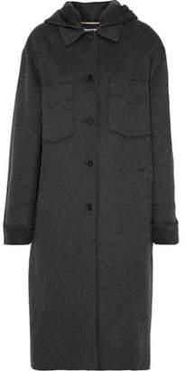 Nanushka Brushed Wool And Silk-blend Hooded Coat