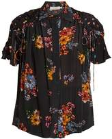 Preen Line Paige gathered-detail floral-print shirt