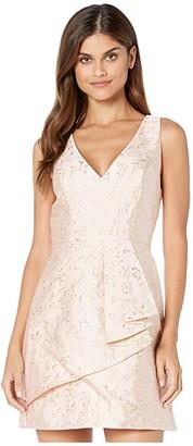 BCBGMAXAZRIA V-Neck Metallic Jacquard A-Line Dress (Bare Pink) Women's Dress