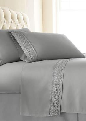 SOUTHSHORE FINE LINENS Queen Sized Premium Collection Double Brushed Lace Extra Deep Pocket Sheet Sets - Steel Grey