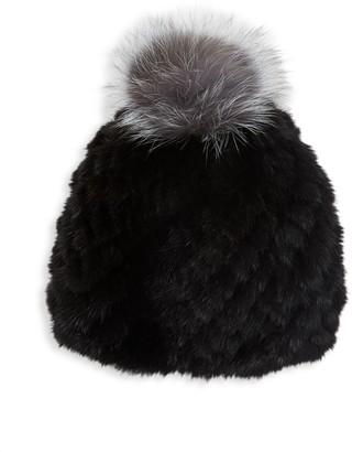 Saks Fifth Avenue Mink Fur & Fox Fur Pom-Pom Beanie