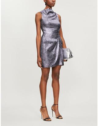 Roland Mouret Zonda metallic crepe mini dress