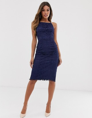 Club L London square neck lace dress with cut out back-Navy