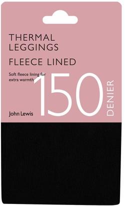 John Lewis & Partners 150 Denier Fleece Lined Leggings, Black
