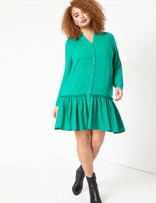 ELOQUII Dropped Waist Flounce Dress