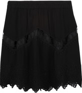 IRO Flynn embroidered cutout crepe mini skirt