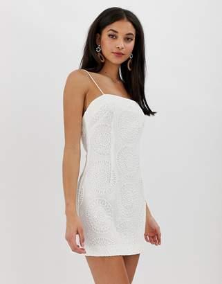 Finders Keepers Kobie broderie mini dress-White