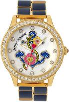 Betsey Johnson Women's Gold-Tone and Navy Bracelet Watch 42mm BJ00198-07