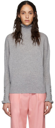 Chloé Grey Cashmere Ruffle Turtleneck
