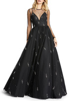 Mac Duggal 6-Week Shipping Lead Time Pearly Beaded Long-Sleeve Empire Illusion Ball Gown