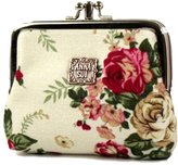 Anna Sui MZZ ANN001 Classic Vintage Floral Print Double Pockets Coin Purse Mini Wallet Wedding Birthday Holiday Gift-more color available