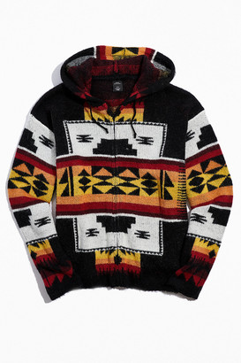Urban Outfitters Printed Knit Zip-Front Knit Hoodie Sweatshirt