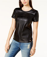 Armani Exchange Faux-Leather-Front T-Shirt