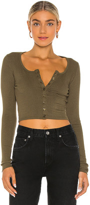The Range Alloy Rib Cropped Button Top