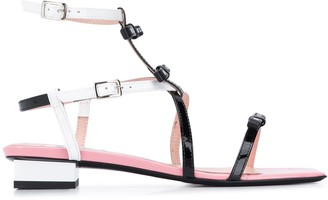 MSGM Bow-Embellished Two-Tone Sandals