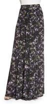 Zac Posen Harriet Long Pleated Printed Silk Skirt
