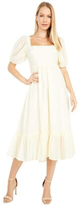 WAYF Lucca Midi Short Sleeve Gathered Dress (Cream Organza Stripe) Women's Dress