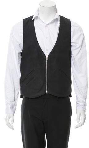 Maxwell Snow Leather Zip-Up Vest w/ Tags