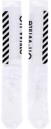 Off-White Off White Diag Mid Length Socks in White & Black | FWRD