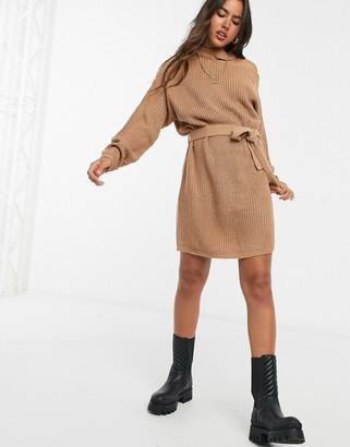AX Paris cut out shoulder sweater dress in camel