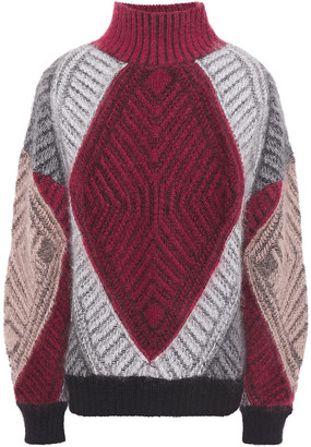 Alberta Ferretti Color-block Open-knit Mohair-blend Turtleneck Sweater