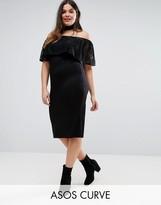 Asos Bardot Off Shoulder Dress With Lace Ruffle