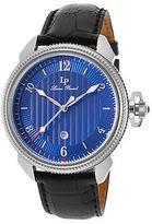 Lucien Piccard 40053-03 Men's Trevi Black Genuine Leather Blue Dial