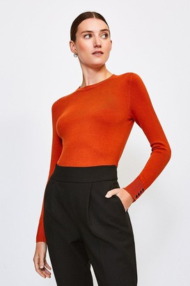 Karen Millen Gold Popper Crew Neck Jumper