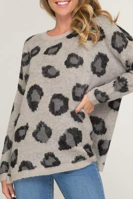 She + Sky Leopard Knit Sweater
