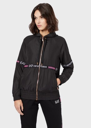 Emporio Armani Technical-Fabric Bomber Jacket With Logo Tape