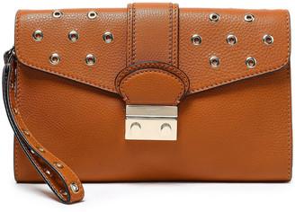 Red(V) Embellished Textured-leather Clutch