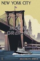 "McGaw Graphics New York City - Brooklyn Bridge by Lantern Press, Art Print Poster, Paper Size 14"" x 11"" Image Size 12"" x 8"""