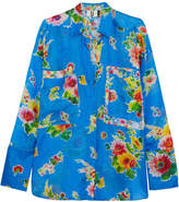 Topshop Floral-print Silk-seersucker Shirt - Bright blue